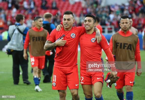 Eduardo Vargas of Chile and Edson Puch of Chile celebrate after the FIFA Confederations Cup Russia 2017 Group B match between Chile and Australia at...