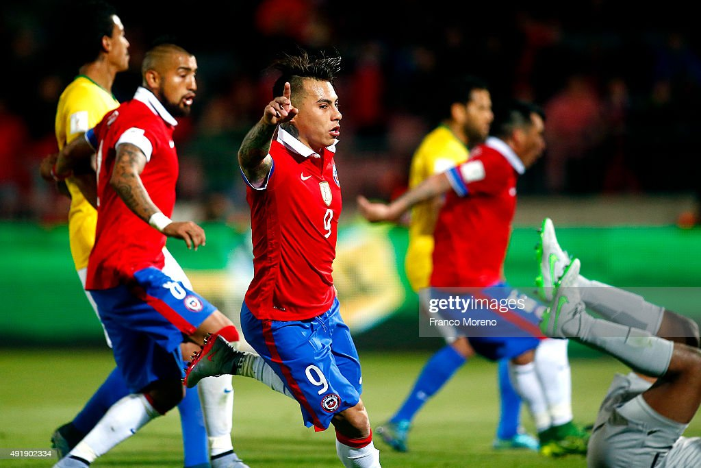 Eduardo Vargas of Chile celebrates after scoring the opening goal during a match between Chile and Brasil as a part of FIFA 2018 World Cup Qualifier at Nacional Julio Martinez Pradanos Stadium on October 8, 2015, in Santiago, Chile.