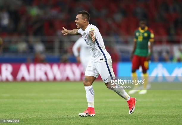 Eduardo Vargas of Chile celebrates scoring his side's second goal during the FIFA Confederations Cup Russia 2017 Group B match between Cameroon and...