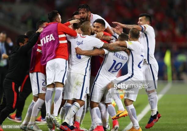 Eduardo Vargas of Chile celebrates scoring his sides second goal with his Chile team mates during the FIFA Confederations Cup Russia 2017 Group B...
