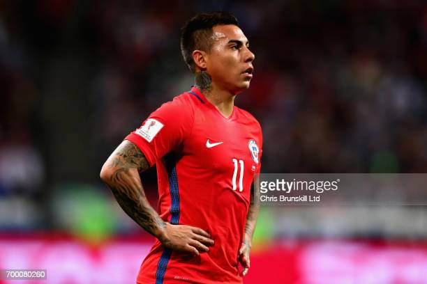 Eduardo Vargas of Chile in action during the FIFA Confederations Cup Russia 2017 Group B match between Germany and Chile at Kazan Arena on June 22...