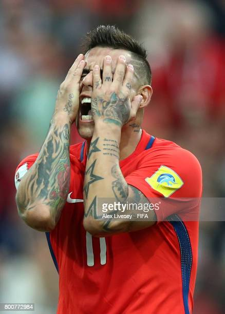 Eduardo Vargas of Chile reacts during the FIFA Confederations Cup Russia 2017 Group B match between Chile and Australia at Spartak Stadium on June 25...