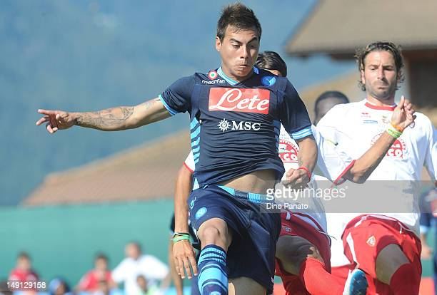 Eduardo Vargas of Napoli in action during the preseason friendly match between SSC Napoli and US Grosseto on July 23 2012 in Dimaro near Trento Italy