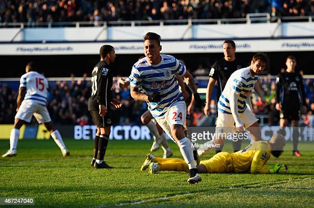 Eduardo Vargas of QPR celebrates scoring his equalising goal during the Barclays Premier League match between Queens Park Rangers and Everton at...