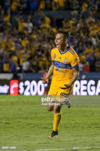 Eduardo Vargas of Tigres celebrates after scoring his team's second goal during the seventh round match between Tigres UANL and Lobos BUAP as part of...
