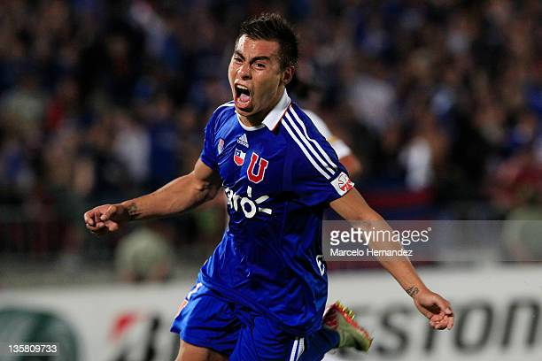 Eduardo Vargas of Universidad de Chile celebrates his goal against Liga de Quito during final match as part of the 2011 Copa Sudamericana at national...