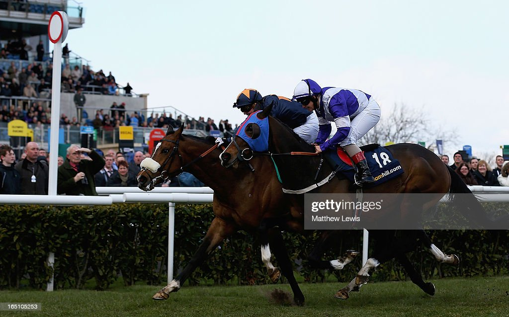 Educate ridden by Liam Jones holds offBootsand spurs ridden by Cathy Gannon to win the William Hill Spring Mile (Handicap) (Class 2) race at Doncaster Racecourse on March 30, 2013 in Doncaster, England.
