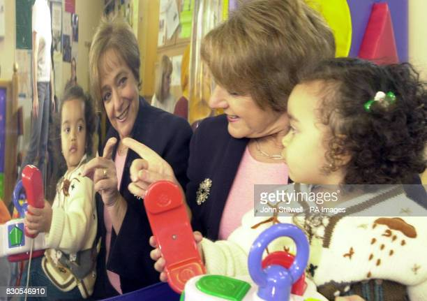 Education and Employment Minister Margaret Hodge with Jara Violini aged 2 at a new toy library in Pimlico She was unveiling a 6 million scheme to...