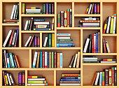 Education concept. Bppks and textbooks on the bookshelf. 3d