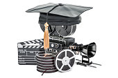 Education in film school concept, 3D rendering