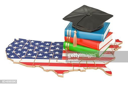 Education  in USA concept, 3D rendering isolated on white background : Stock Photo