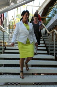 Education Minister Hekia Parata arriving to announce that seven Christchurch schools will close and 12 will merge to create six schools as part of...