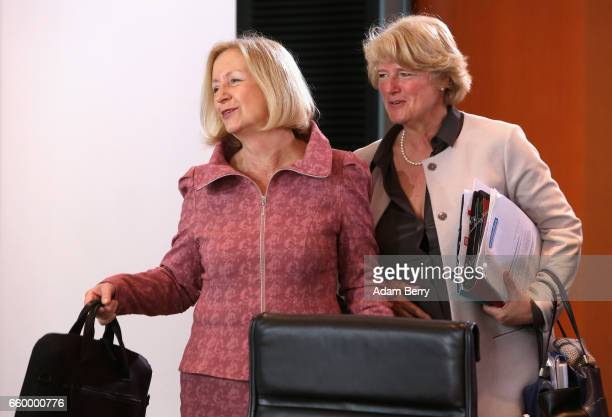 Education Minister Johanna Wanka and State Minister Monika Gruetters arrive for the weekly German federal Cabinet meeting on March 29 2017 in Berlin...