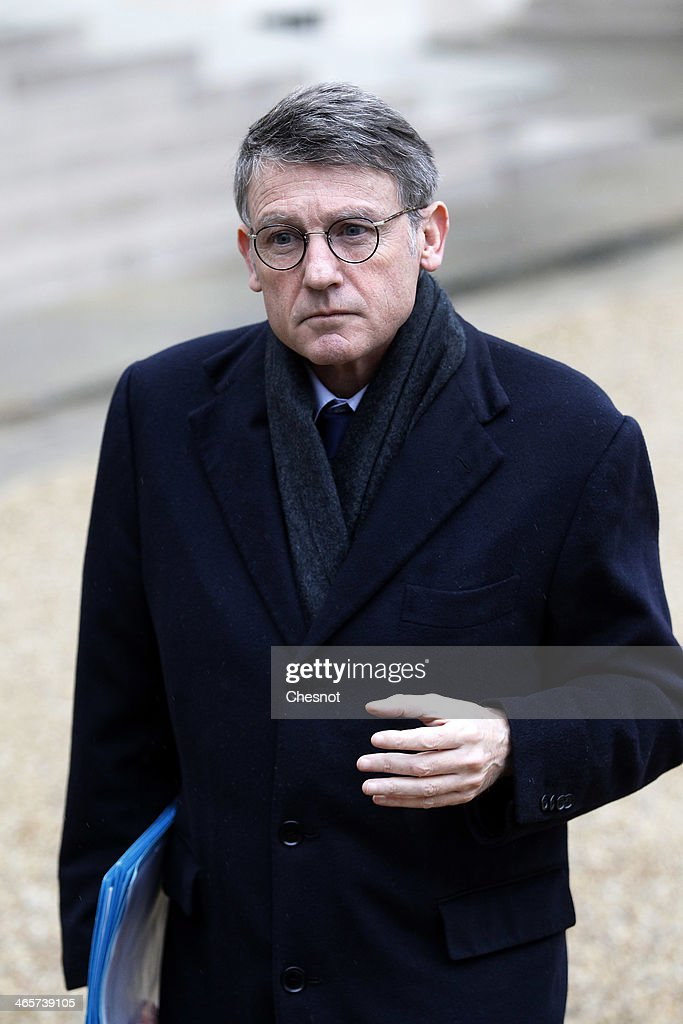 Education Minister, Vincent Peillon, leaves the Elysee Palace after the weekly cabinet meeting on January 29, 2014, in Paris, France.