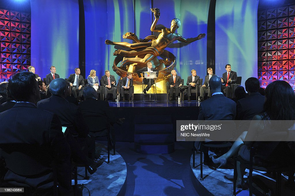 NBC NEWS -- Education Nation, New York Summit -- Pictured: (l-r) Sean Parnell, Governor of Alaska, Jack Markell, Governor of Delaware, Nathan Deal, Governor of Georgia, Mary Fallin, Governor of Oklahoma, Paul LePage, Governor of Maine, John Hickenlooper, Governor of Colorado, Brian Williams, Lincoln Chafee, Governor of Rhode Island, Bill Haslem, Governor of Tennessee, Robert McDonnell, Governor of Virginia, and Scott Walker, Governor of Wisconsin during 'The State of Education: The Governors' Perspective' session at NBC News' Education Nation Summit in New York on Monday, September 26, 2011