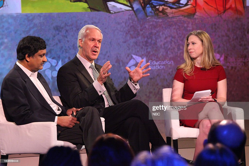 Anant Agarwal, President of edX, Dr. Paul J. LeBlanc, President of Southern New Hampshire University, and Chelsea Clinton, Special Correspondent for NBC News. --