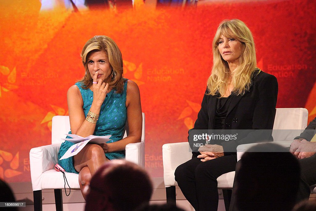 <a gi-track='captionPersonalityLinkClicked' href=/galleries/search?phrase=Hoda+Kotb&family=editorial&specificpeople=2338013 ng-click='$event.stopPropagation()'>Hoda Kotb</a>, co-host of NBC News' 'TODAY,' and <a gi-track='captionPersonalityLinkClicked' href=/galleries/search?phrase=Goldie+Hawn&family=editorial&specificpeople=171422 ng-click='$event.stopPropagation()'>Goldie Hawn</a>, actress and founder of the Hawn Foundation.--