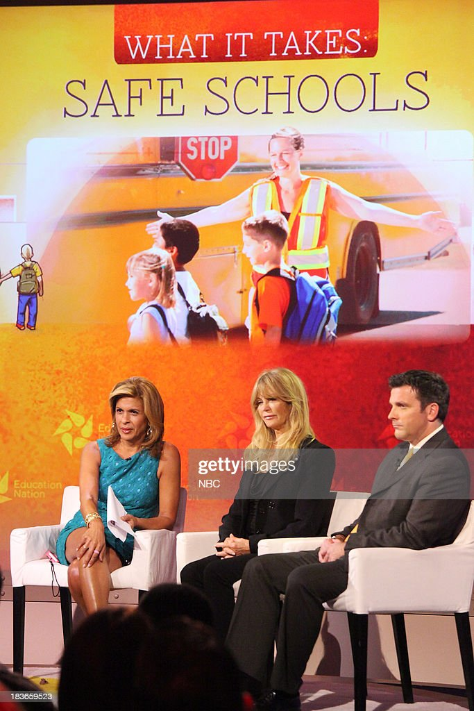 Hoda Kotb, co-host of NBC News' 'TODAY,' Goldie Hawn, actress and founder of the Hawn Foundation, and Dr. Peter DeWitt, principal of Poestenkill Elementary School in Poestenkill, NY. --