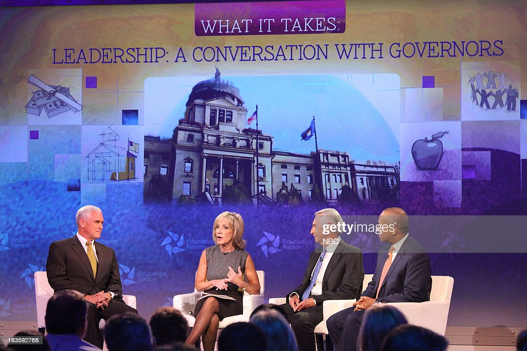 Mike Pence, Governor of Indiana, Andrea Mitchell, Chief Foreign Affairs Correspondent for NBC News, Steve Beshear, Governor of Kentucky, and Deval Patrick, Governor of Massachusetts. --