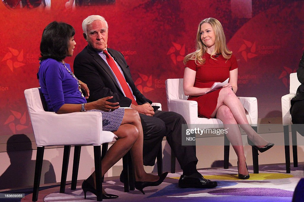 Rehema Ellis, Chief Education Correspondent for NBC News, John Merrow, Education Correspondent for PBS NewsHour, and <a gi-track='captionPersonalityLinkClicked' href=/galleries/search?phrase=Chelsea+Clinton&family=editorial&specificpeople=119698 ng-click='$event.stopPropagation()'>Chelsea Clinton</a>, Special Correspondent for NBC News. --