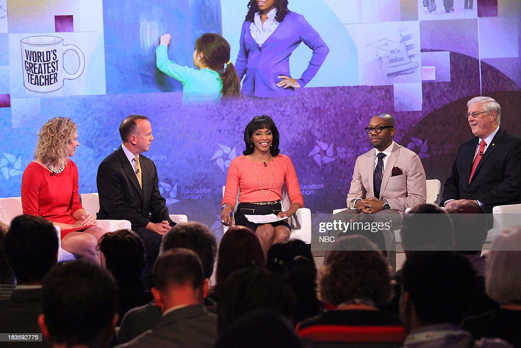Sarah Brown Wessling, Teacher, Jack Markell, Governor of Delaware, Rehema Ellis, Chief Education Correspondent for NBC News, Dr. Andre Perry, Founding Dean of Urban Education at Davenport University, MI, and Dennis Van Roekel, President of the National Education Association. --