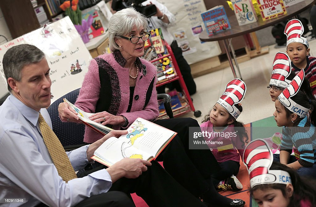 Education Secretary Arne Duncan and HHS Secretary Kathleen Sebelius read the Dr Seuss book 'Green Eggs and Ham' to students enrolled in a Head Start...