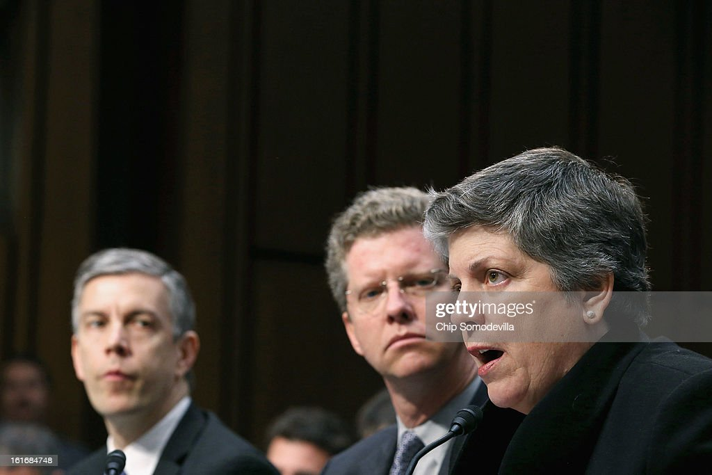 Education Secretary <a gi-track='captionPersonalityLinkClicked' href=/galleries/search?phrase=Arne+Duncan&family=editorial&specificpeople=3049193 ng-click='$event.stopPropagation()'>Arne Duncan</a>, Housing and Urban Development Secretary Shaun Donovan and Homeland Security <a gi-track='captionPersonalityLinkClicked' href=/galleries/search?phrase=Janet+Napolitano&family=editorial&specificpeople=589781 ng-click='$event.stopPropagation()'>Janet Napolitano</a> testify before the Senate Appropriations Committee about the potential impacts of 'the sequester' during a hearing on Capitol Hill February 14, 2013 in Washington, DC. According to the Obama Administration cabinet members, 'the sequester,' automatic spending cuts to military and nonmilitary programs, will lead to dire bugetary consequences.