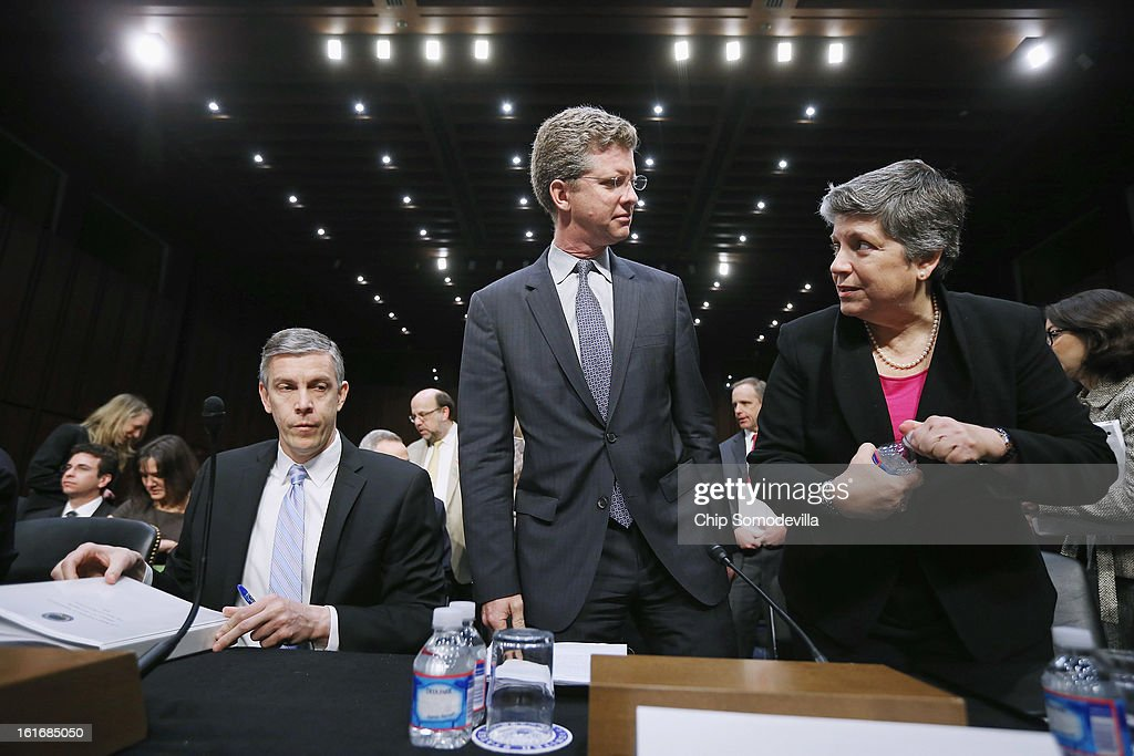 Education Secretary Arne Duncan, Housing and Urban Development Secretary Shaun Donovan and Homeland Security Janet Napolitano prepare to testify before the Senate Appropriations Committee about the potential impacts of 'the sequester' during a hearing on Capitol Hill February 14, 2013 in Washington, DC. According to the Obama Administration cabinet members, 'the sequester,' automatic spending cuts to military and nonmilitary programs, will lead to dire bugetary consequences.