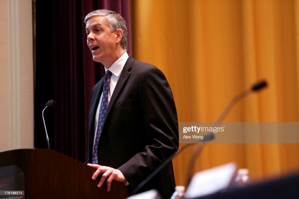 U.S. Education Secretary <a gi-track='captionPersonalityLinkClicked' href=/galleries/search?phrase=Arne+Duncan&family=editorial&specificpeople=3049193 ng-click='$event.stopPropagation()'>Arne Duncan</a> speaks to students at School Without Walls August 27, 2013 in Washington, DC. Duncan participated in an event to discuss '50 Years of Struggle: Youth Driving Economics, Education, and Social Change,' which was to mark the 50th anniversary of Dr. Martin Luther King Jr.'s 'I Have a Dream' speech.
