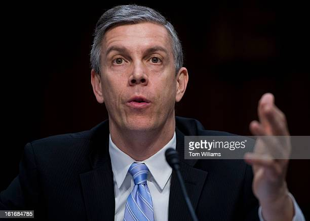 Education Secretary Arne Duncan testifies before a Senate Appropriations Committee hearing in Hart Building on the impacts of the sequestration on...