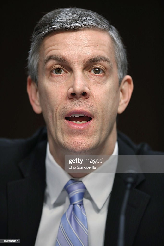 Education Secretary <a gi-track='captionPersonalityLinkClicked' href=/galleries/search?phrase=Arne+Duncan&family=editorial&specificpeople=3049193 ng-click='$event.stopPropagation()'>Arne Duncan</a> testifies before the Senate Appropriations Committee about the potential impacts of 'the sequester' during a hearing on Capitol Hill February 14, 2013 in Washington, DC. 'The sequester,' automatic spending cuts to military and nonmilitary programs, will go into affect March 1 if Congress and the White House can not find common ground on a federal budget.