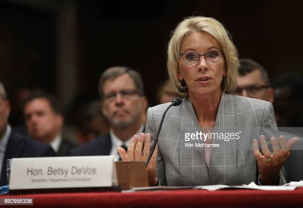 Education Secretary Betsy DeVos testifies before the Senate Appropriations Committee on Capitol Hill June 6 2017 in Washington DC DeVos testified on...