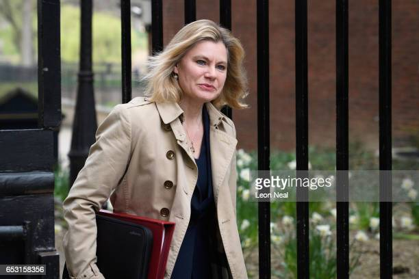 Education Secretary Justine Greening arrives at number 10 Downing Street ahead of a cabinet meeting on March 14 2017 in London England Following a...