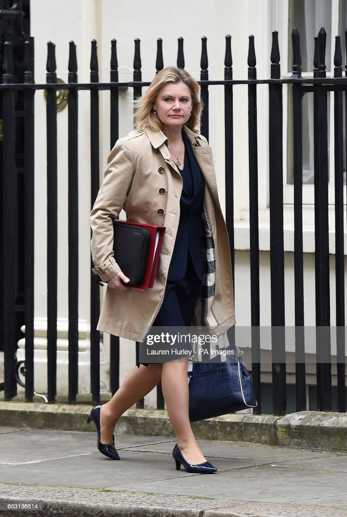 Education Secretary Justine Greening arriving at 10 Downing Street, London for the weekly cabinet meeting.