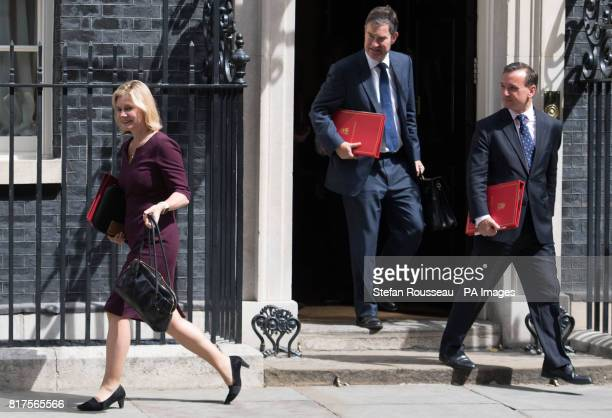 Education Secretary Justine Greening Works and Pensions Secretary David Gauke and Welsh Secretary Alun Cairns leave following a cabinet meeting in...