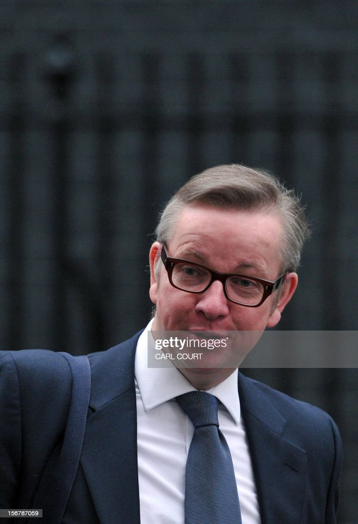 Education Secretary Michael Gove leaves 10 Downing Street in central London on November 21, 2012.