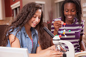 Latin and African descent teenage girl friends studying DNA molecular structure, using microscope as they study science subject at home setting.  The multi-ethnic friends hold the model and look into