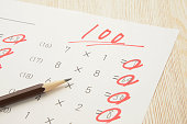 Educational concepts, math test with full score