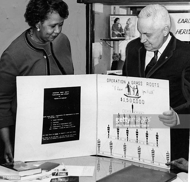 Educator and Civil Rights activist Dorothy Height examining a poster about Mary McLeod Bethune during the National Council of Negro Women campaign...