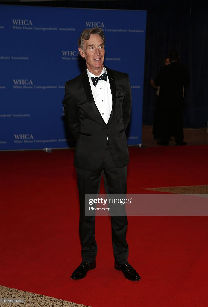 Educator <a gi-track='captionPersonalityLinkClicked' href=/galleries/search?phrase=Bill+Nye&family=editorial&specificpeople=1016855 ng-click='$event.stopPropagation()'>Bill Nye</a> arrives for the White House Correspondents' Association (WHCA) dinner in Washington, D.C., U.S., on Saturday, April 30, 2016. The 102nd WHCA raises money for scholarships and honors the recipients of the organization's journalism awards. Photographer: Andrew Harrer/Bloomberg via Getty Images