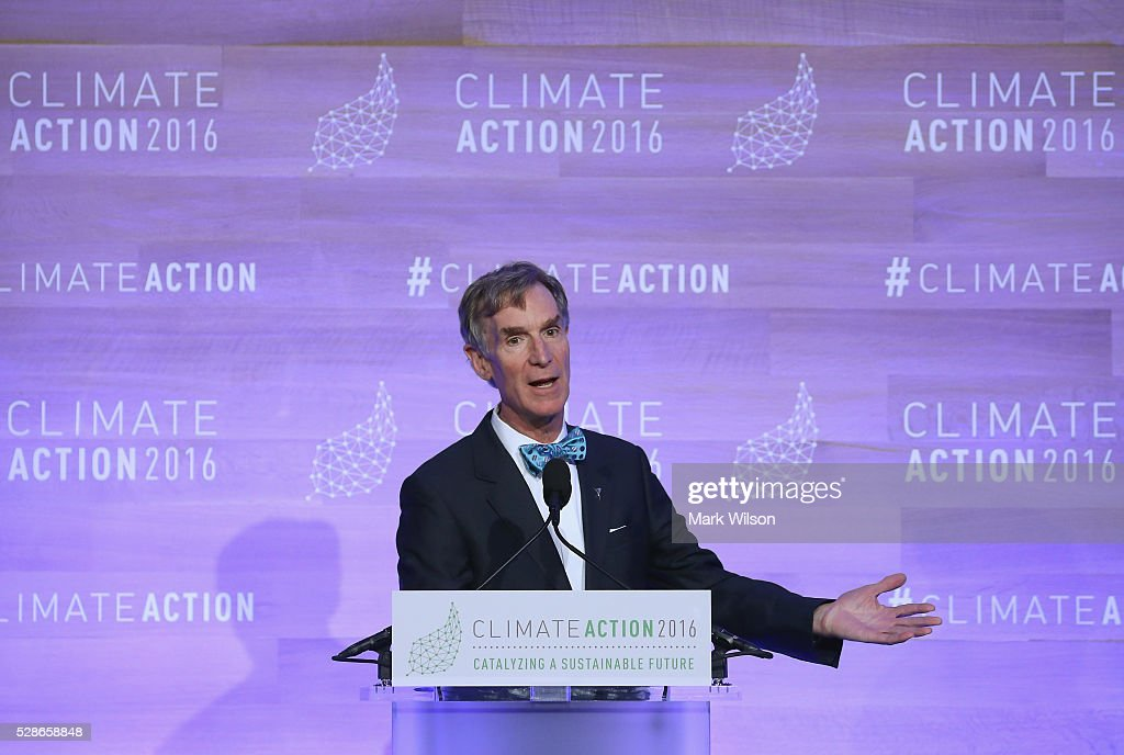 Educator Bill Nye speaks during the Climate Action 2016 Summit at the Willard Hotel, May 6, 2016 in Washington, DC. The summit is taking place two weeks after the signing ceremony of the Paris Agreement.
