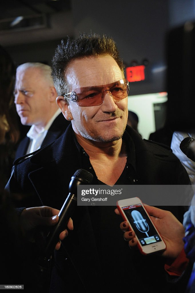 Edun co-founder <a gi-track='captionPersonalityLinkClicked' href=/galleries/search?phrase=Bono+-+Singer&family=editorial&specificpeople=167279 ng-click='$event.stopPropagation()'>Bono</a> attends the Edun presentation during Fall 2013 Mercedes-Benz Fashion Weekat Skylight West on February 7, 2013 in New York City.