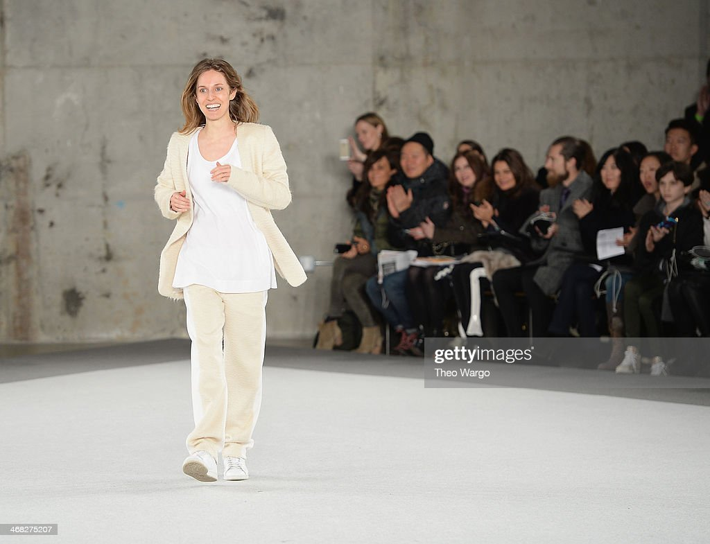 Edun Creative Director Danielle Sherman walks the runway at the Edun fashion show during Mercedes-Benz Fashion Week Fall 2014 at Skylight Modern on February 9, 2014 in New York City.