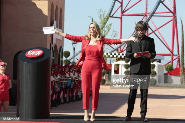 Edurne Garcia Almagro and Santi Millan attend new Ferrari Land at Port Aventura World on April 6 2017 in Tarragona Spain