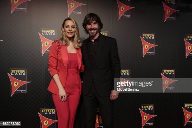 Edurne Garcia Almagro and Santi Millan attend the new Ferrari Land at Port Aventura World on April 6 2017 in Tarragona Spain