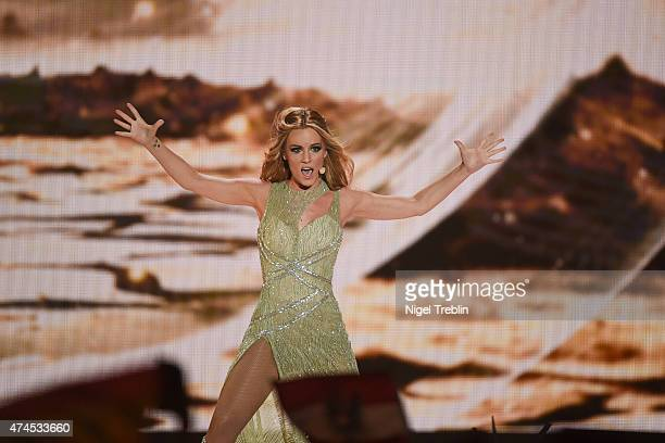Edurne of Spain performs on stage during the final of the Eurovision Song Contest 2015 on May 23 2015 in Vienna Austria The final of the Eurovision...