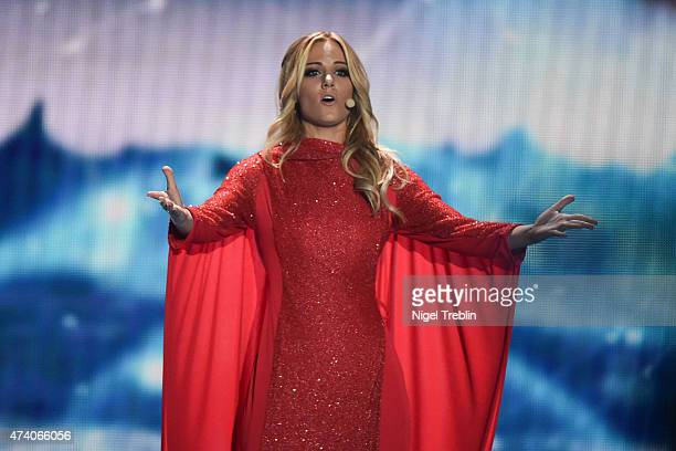 Edurne of Spaon performs on stage during rehearsals ahead of the Eurovision Song Contest 2015 on May 20 2015 in Vienna Austria The final of the...
