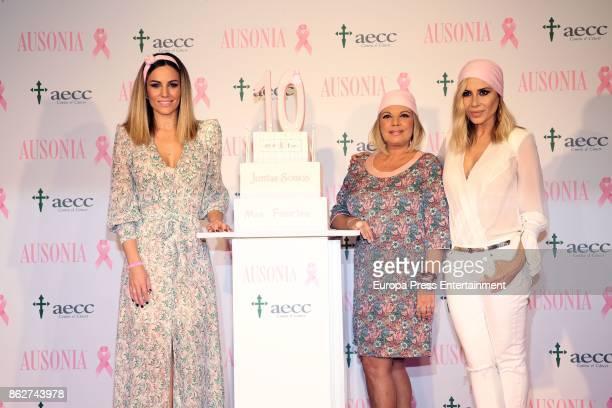 Edurne Terelu Campos and Marta Sanchez attend the presentation of Ausonia and AECC Against Breast Cancer campaign 'Juntas somos mas fuertes' on...