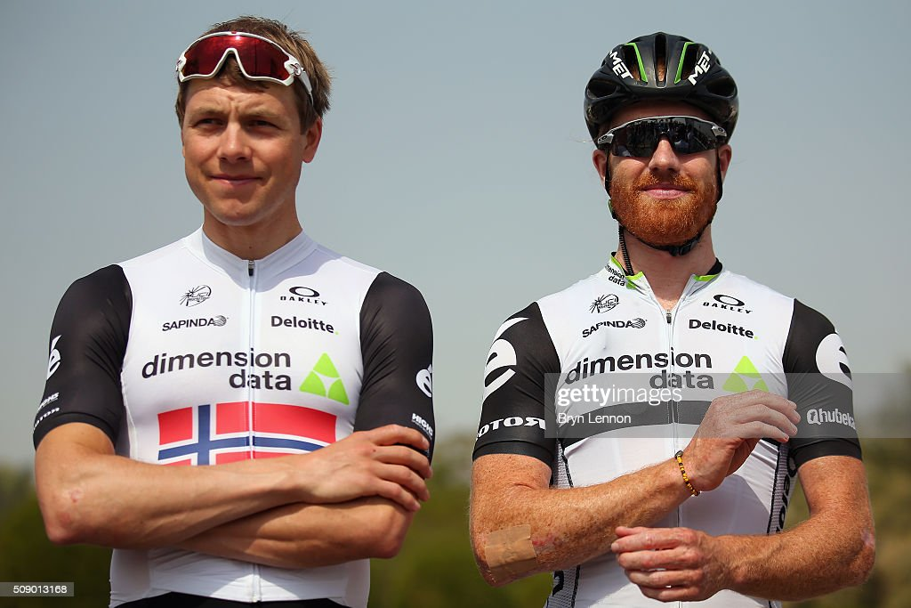 <a gi-track='captionPersonalityLinkClicked' href=/galleries/search?phrase=Edvald+Boasson+Hagen&family=editorial&specificpeople=4451245 ng-click='$event.stopPropagation()'>Edvald Boasson Hagen</a> (l) of Norway and Dimension Data chats to team mate <a gi-track='captionPersonalityLinkClicked' href=/galleries/search?phrase=Tyler+Farrar&family=editorial&specificpeople=705251 ng-click='$event.stopPropagation()'>Tyler Farrar</a> of The USA at the start of stage one of the 2016 Tour of Qatar, a 176.5km road stage from Durkhan to Al Khor Corniche on February 8, 2016 in Durkhan, Qatar.