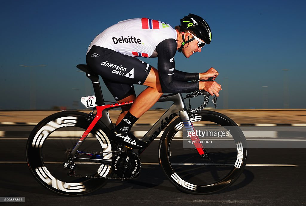 <a gi-track='captionPersonalityLinkClicked' href=/galleries/search?phrase=Edvald+Boasson+Hagen&family=editorial&specificpeople=4451245 ng-click='$event.stopPropagation()'>Edvald Boasson Hagen</a> of Norway and Dimension Data in action on his way to winning stage three of the 2016 Tour of Qatar, a 11.4km Individual Time Trial, at Lusail International Circuit on February 10, 2016 in Doha, Qatar.